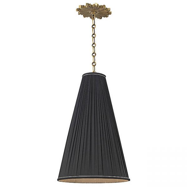 Blake Pendant Light with Black Pleated Shade and Brass Starburst Canopy, Hudson Valley Lighting
