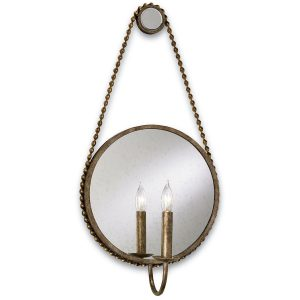 Currey & Company, Somerset Brass and Antiqued Mirror Wall Sconce