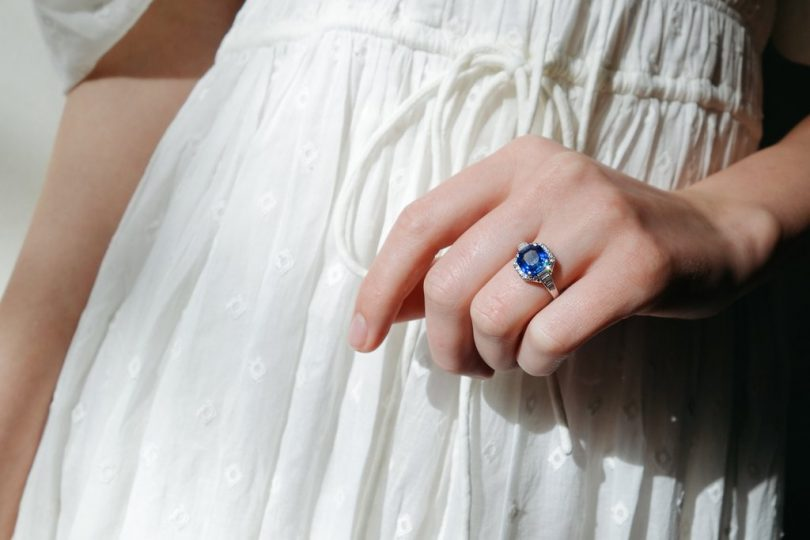 Vintage Diamond and Sapphire Engagement Ring, Erstwhile Jewelry