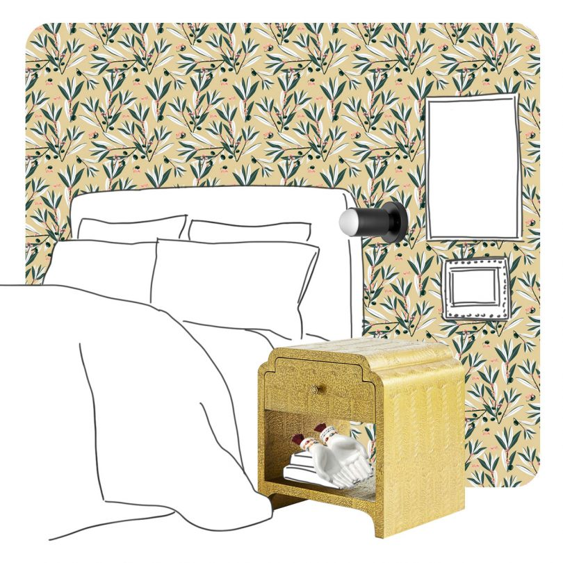 Sketch - Bedroom Nightstand and Wallpaper
