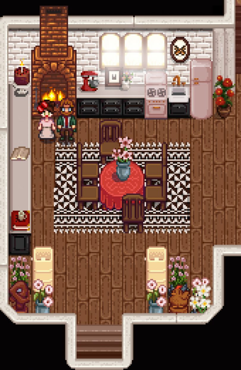 A Lovely Pink Stardew Valley Kitchen