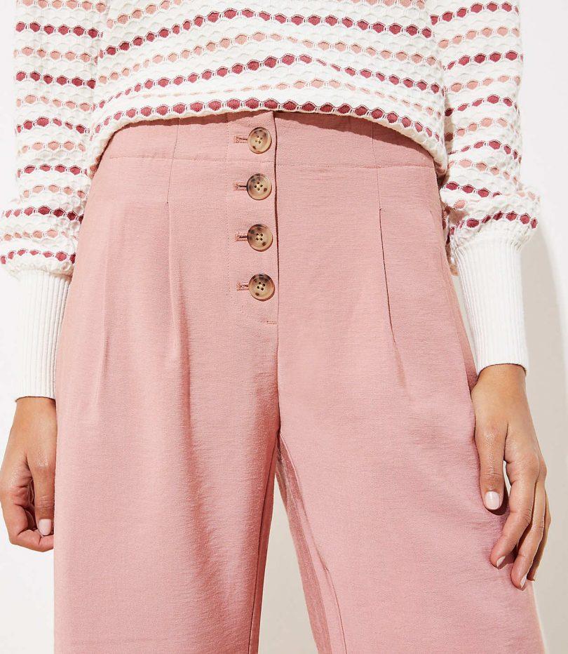 Button Fly High Waist Pink Pants
