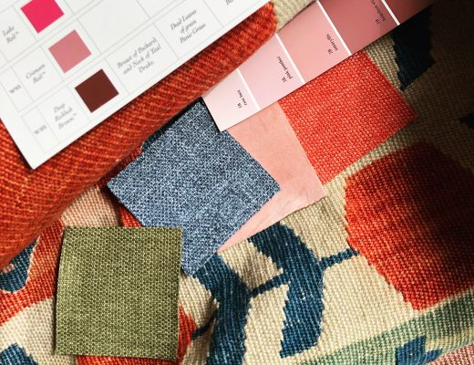 Vintage Rug with Paint and Fabric Swatches