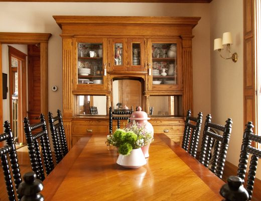 Dining Room, Wood Trim, Black Spool Chairs | Making it Lovely