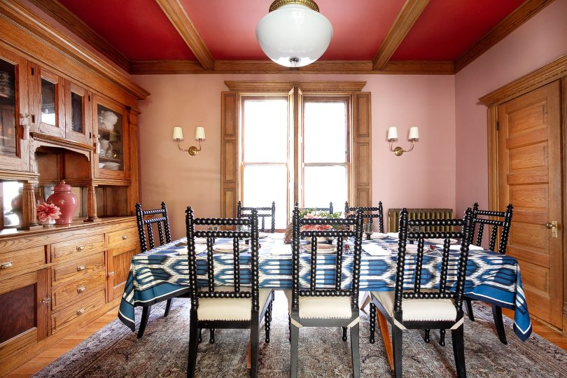 Pink Dining Room with Red Ceiling | Making it Lovely