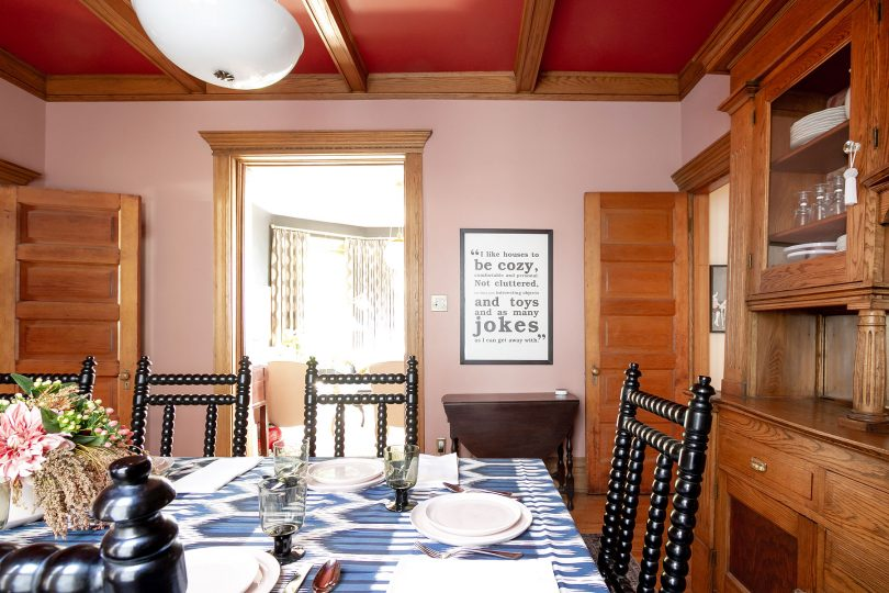Pink Walls, Red Ceiling | Dining Room | Making it Lovely