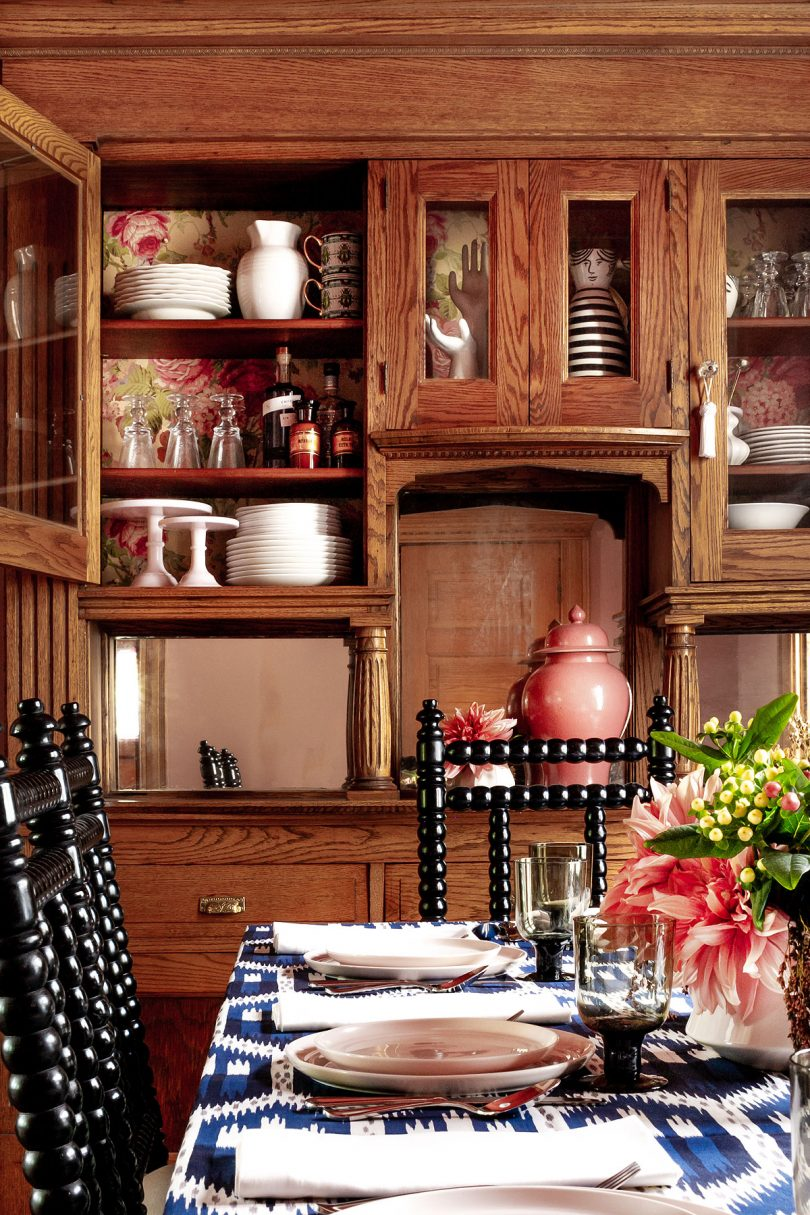 Dining Room Hutch Wallpapered with Ralph Lauren Paper | Making it Lovely