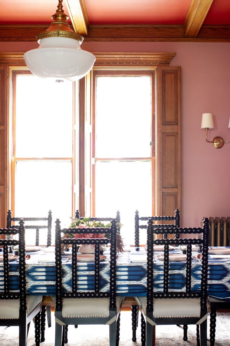 Pink and Red Dining Room, Schumacher Blue Bukhara Ikat Tablecloth | Making it Lovely