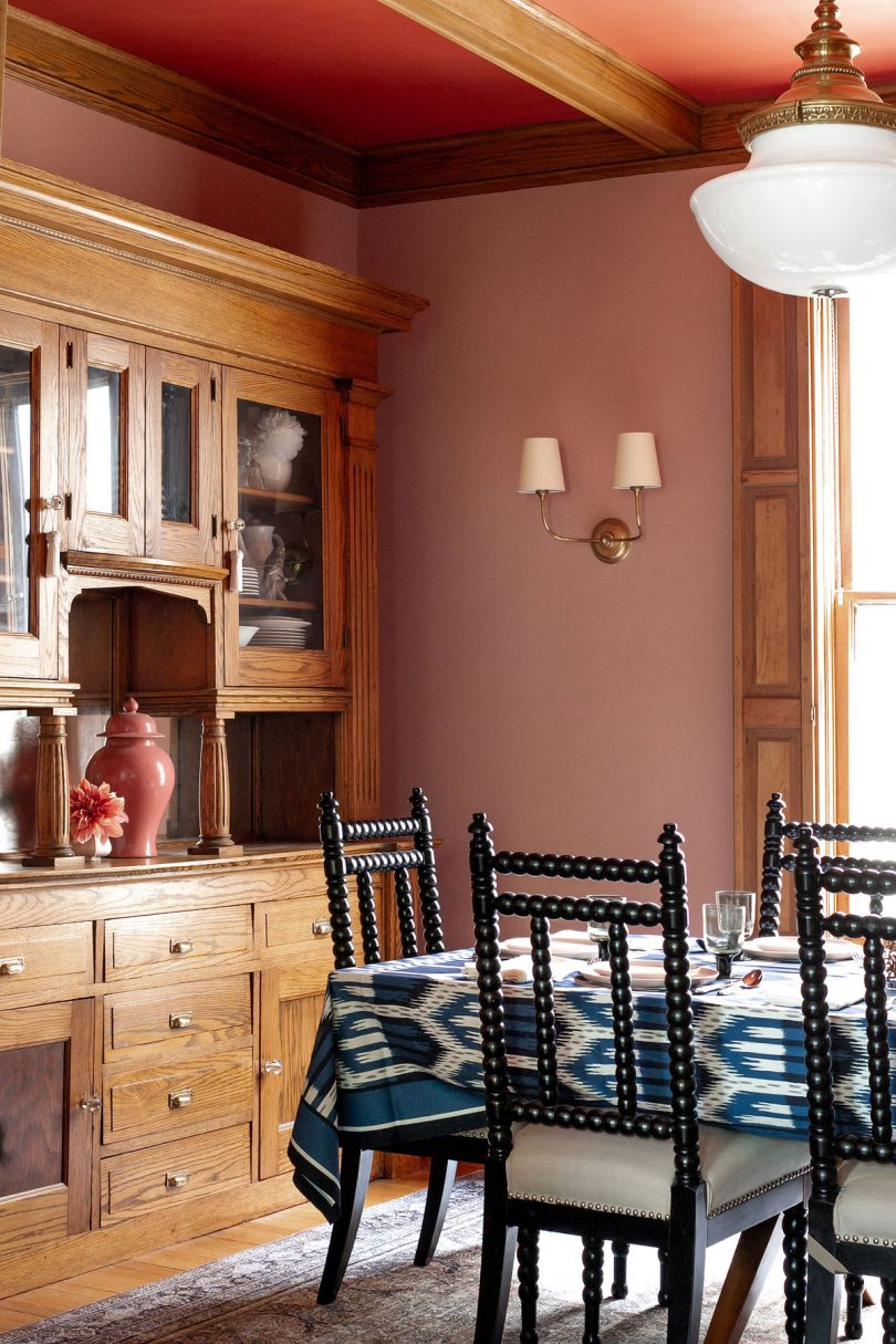 Pink and Red Dining Room in a Victorian House | Making it Lovely