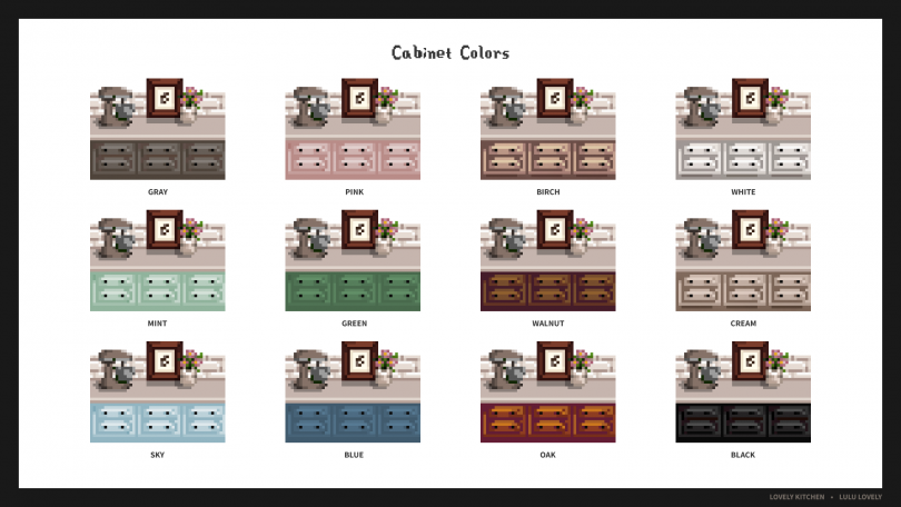 Cabinet Colors - Lovely Kitchen Mod for Stardew Valley by Lulu Lovely