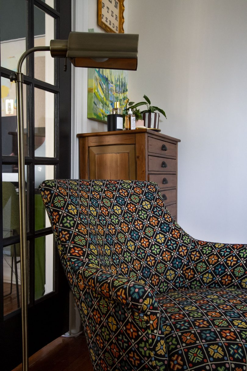 Armchair Calico Corners Kirov Scalamandre Fabric Reupholstered | Making it Lovely