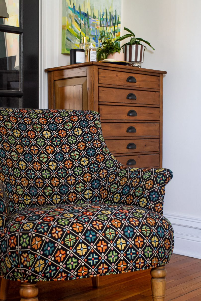 Reupholstered Chair with Calico Corners | Making it Lovely